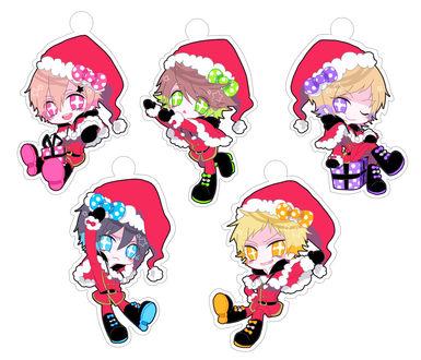 Обои Пять аниме-чибиков в костюмах Санта Клауса