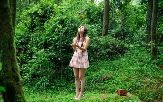 Обои Девушка азиатской внешности, стоящая на лесной опушке, рядом стоит небольшой сундучок