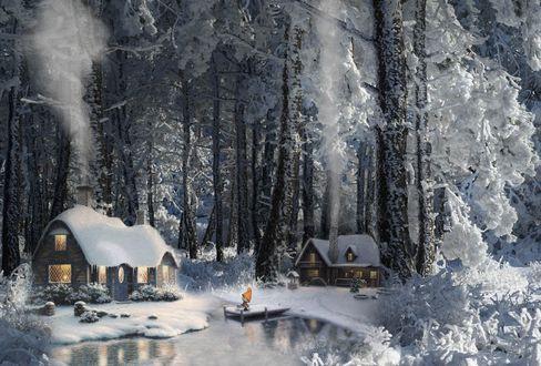 Обои Гномик сидит на мостике у воды, в окружении зимнего леса с домиками, из труб которых клубится дым, работа сказка, фотограф Аnton Mironov
