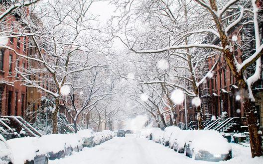 Обои Городская улица утопает в снегу