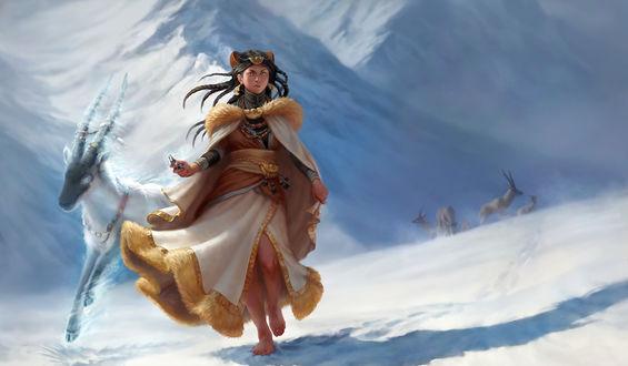 Обои Девушка идет босиком по снегу с горным козлом в голубым сиянием