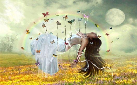 Обои Девушку - эльфийку несут бабочки над цветочным полем