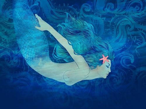 Под водой с морской звездой в волосах