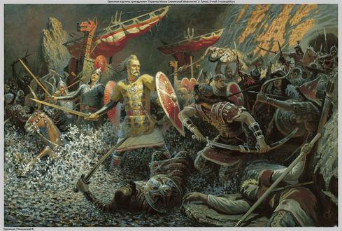 Обои Картина художника Бориса Ольшанского Сеча на Днепре, князь Святослав с дружиной сражается на днепровских порогах с печенегами