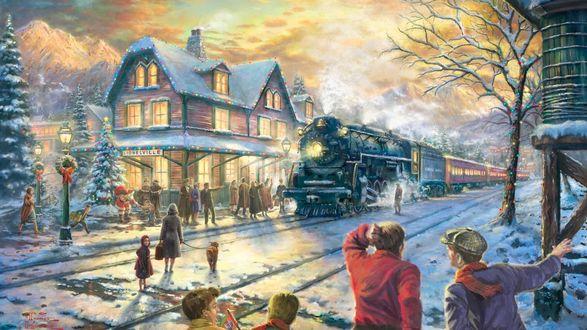 Обои Люди смотрят на прибытие дымящего паровоза к деревянному вокзалу города Lionelville / Лайнолвил, украшенному рождественскими огнями, усыпанному снегом