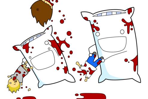 Обои Две подушки дерутся людьми