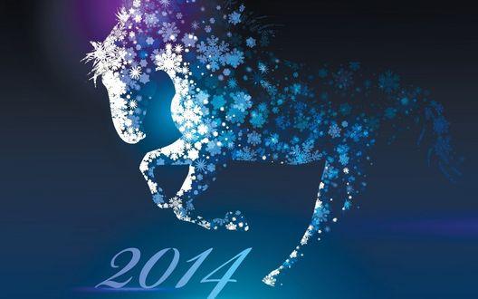 Обои Лошадь из снежинок скачет на число 2014, знаменующее Новый год