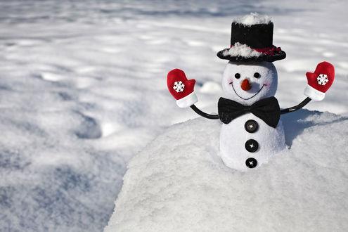Обои Махровый снеговик в шляпе-котелке, с бабочкой и в красных варежках стоит в снегу