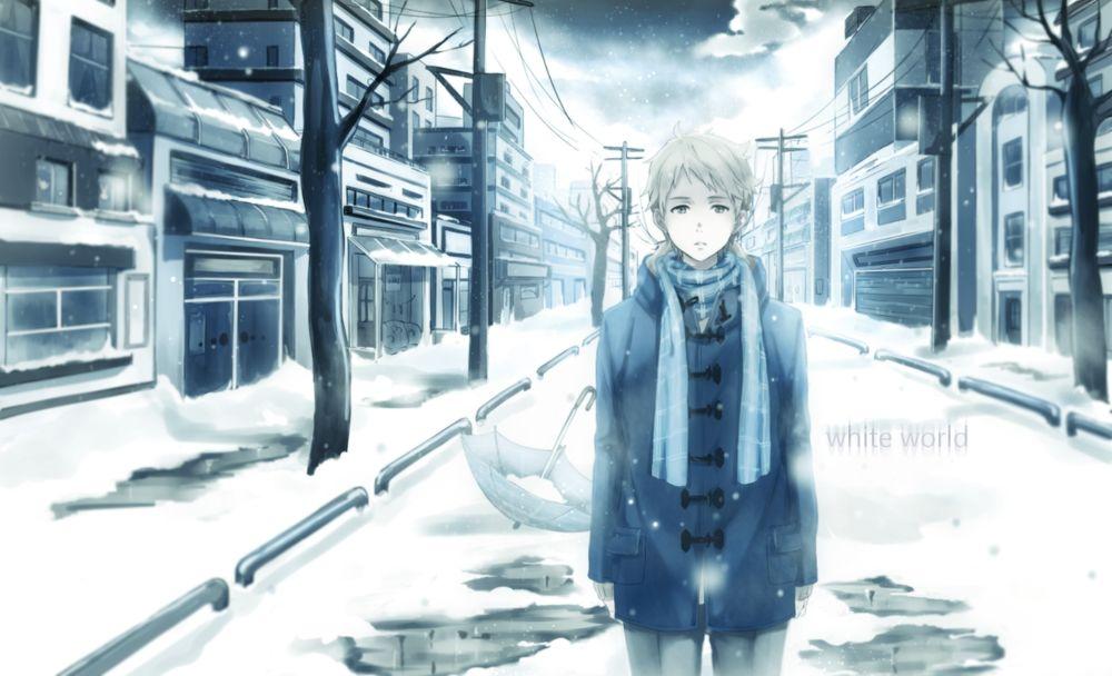 Обои для рабочего стола Kanbara Akihito / Канбара Акихито из аниме Kyoukai no Kanata / За гранью, художник Saito Yukihiro (white world)