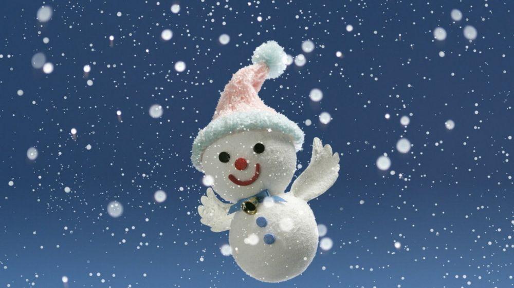 Обои Маленький снеговик с крыльями на фоне падающего снега ...: http://wallpapers.99px.ru/wallpapers/89720/