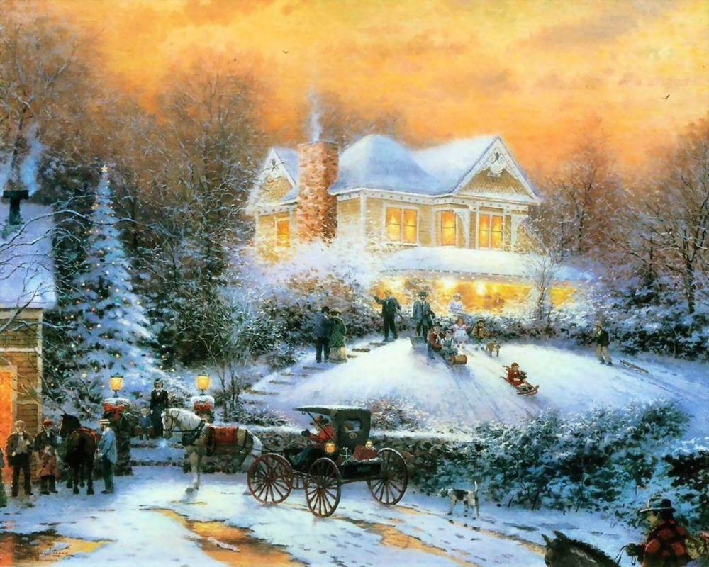 Обои для рабочего стола Дети катаются на санках не далеко от стоящего дома, вокруг люди, на дороге стоит карета с возничим, все укрыто снегом, стоит новогодняя елка, художник Томас Кинкейд