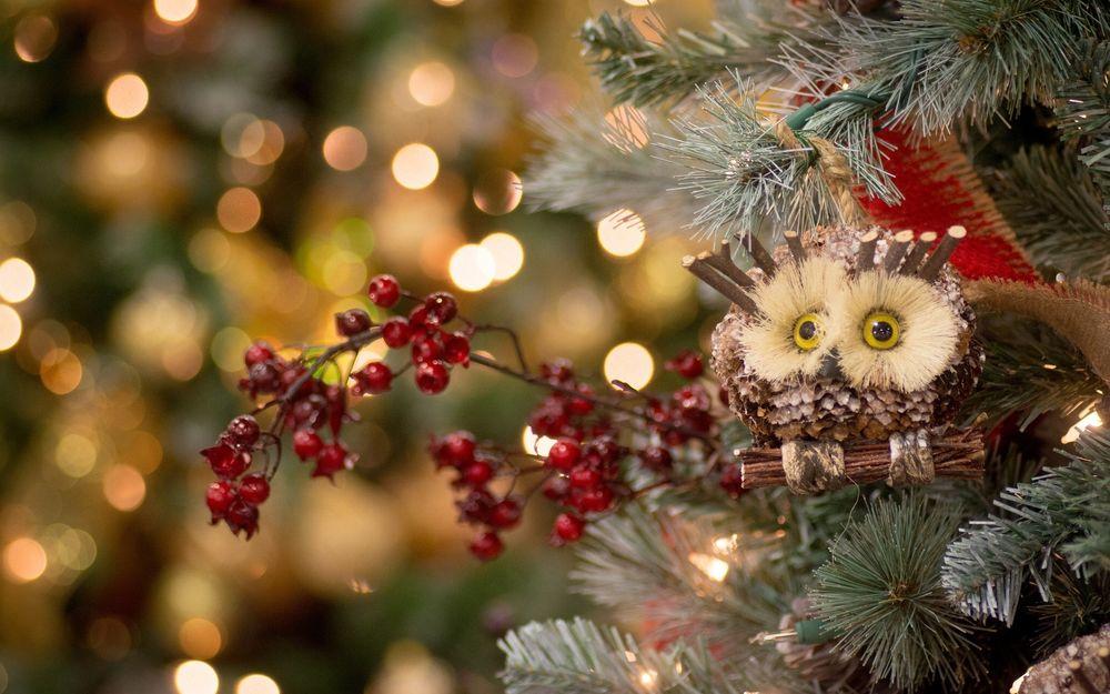 Обои для рабочего стола Фигурка совы и ветка рябины на новогодней елке