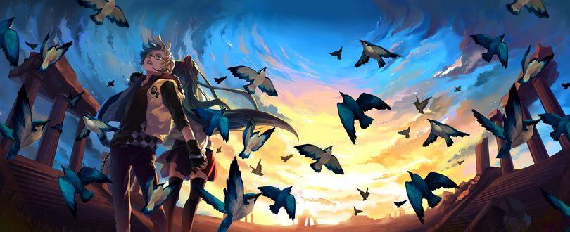 Обои Девушка и юноша держатся за руки, вокруг них разлетается стая птиц