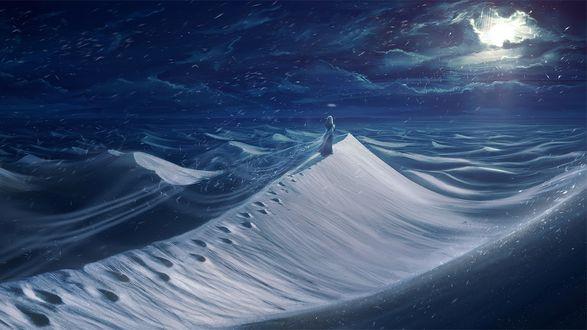 Обои Одинокая девушка бредет по снежным дюнам в свете луны