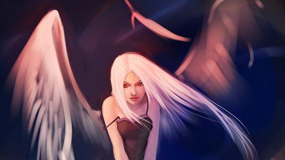 Обои Девушка-ангел с развевающимися волосами