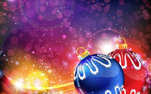Обои Голубой и красный новогодние шары