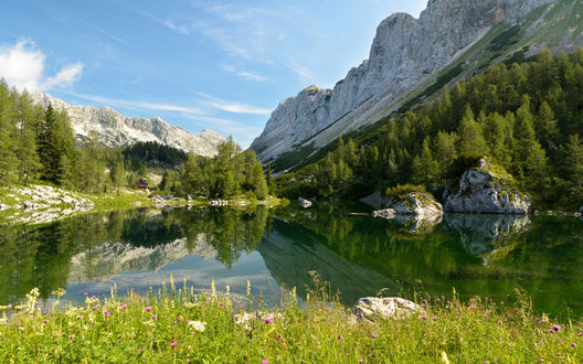 Обои Национальный парк Триглав, Бохинское озеро на фоне красивой природы