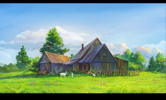 Обои Около старого дома пасутся козы, art by ArseniXC