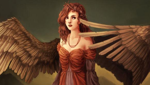 Обои Красивая девушка ангел смотрит куда то в даль
