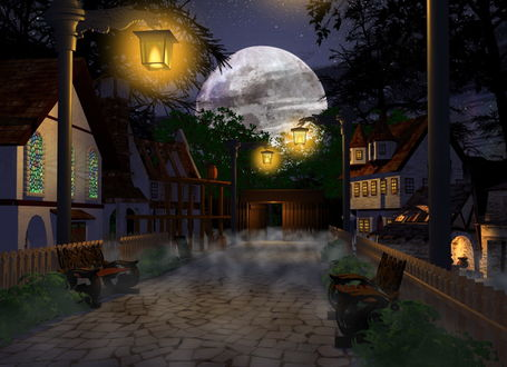 Обои Мощеная улочка небольшого городка с ровными рядами деревянного заборчика, стоящими скамейками, домами с островерхими черепичными крышами, освещенными ярким уличным освещением на фоне взошедшей планеты на звездном ночном небе