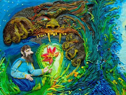 Обои Работа Анастасии Волковой, выполненная из пластилина, иллюстрация к сказке Аленький цветочек