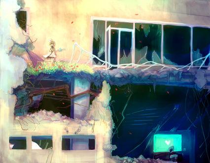 Обои Улыбающая Vocaloid Kagamine Rin / Вокалоид Кагамине Рин с лейкой в руках стоит на балконе разрушенного дома