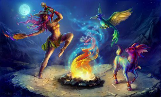 Обои Девушка-шаманка танцует у огня с бубном, козлом и птицей