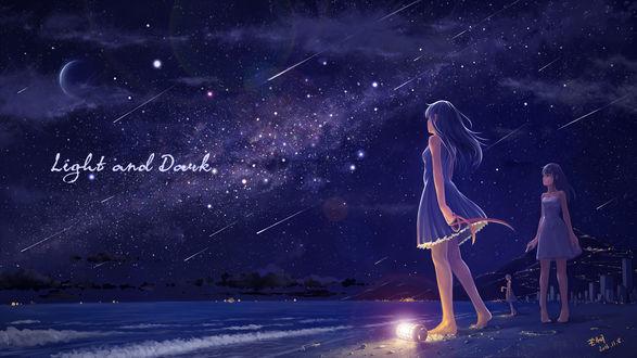 Обои Три девушки смотрят на звездопад, стоя на берегу моря, art by tyc001x (Light and Dark)