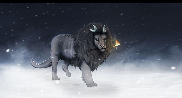 Обои Лев с рогами и хвостом крокодила идет с горящей веткой в пасти по снегу