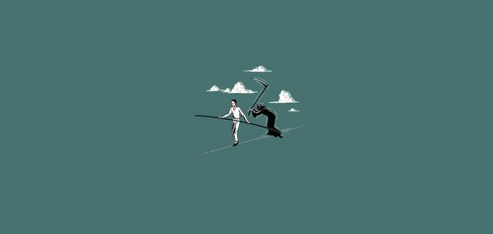 Обои Отважный воздушный гимнаст поднялся под самые облака и не замечает Смерти с косой, отчаянно балансирующей за ним