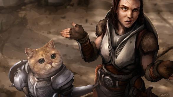Обои Девушка и кот в доспехах, породия на игру Скайрим / Skyrim