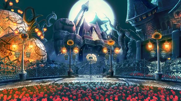 Обои Сказочный замок на фоне огромной полной луны, башни замка и фонари похожи на тыквы, перед входом цветочная клумба