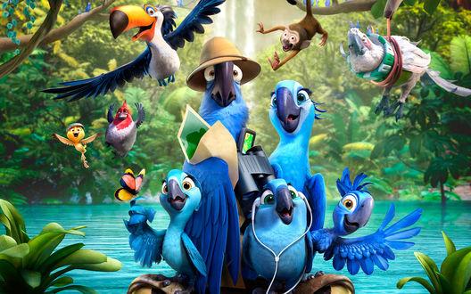 Обои Герои мультфильма Рио-2 / Rio 2 Голубчик / Blu, Жемчужинка / Jewel, трое их птенцов и друзья вместе путешествуют