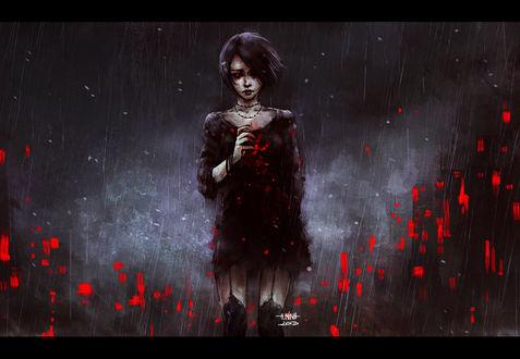 Обои Темноволосая девушка в окровавленном платье стоит под дождем, art by nanfe