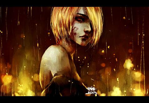 Обои Светловолосая девушка с кровью на лице под дождем, art by nanfe
