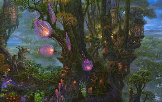 Обои Сказочные домики на деревьях
