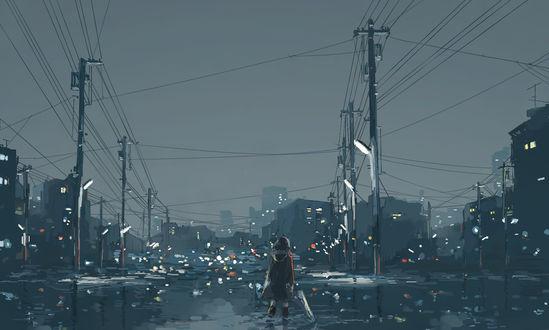 Обои Девушка с зонтом идет по затопленной улице ночного города
