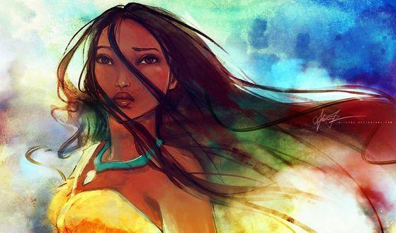 Обои Покахонтас / Pocahontas с развевающимися волосами, художник Alicexz