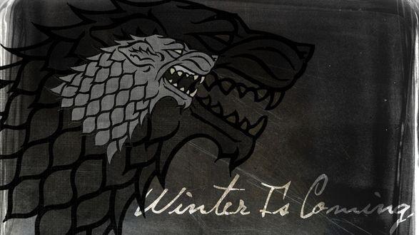Обои Фамильный герб Старков из фильма Игры престолов и надпись Winter is comig / Зима близко