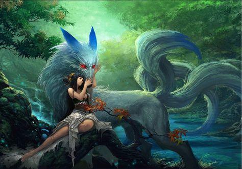 Обои Девушка с белой лисицей у которой несколько хвостов в сказочном лесу