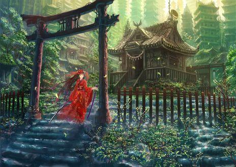 Обои Девушка с мечами в руках, в красном кимоно и в маске на фоне города