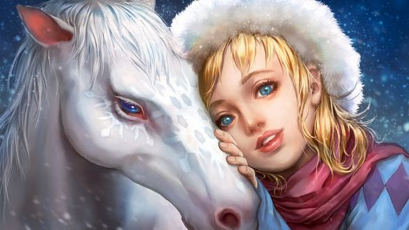Обои Голубоглазая девушка в шарфе и шапке приложила руку к белой лошади с узором снежинки на морде