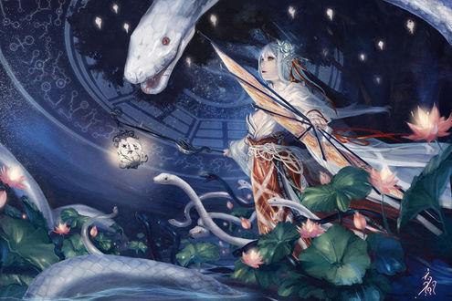 Обои Девушка с веером и белые змеи