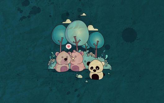 Обои Два влюбленных розовых медведя и одинокая панда стоят у деревьев