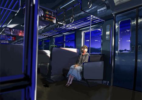 Обои Девушка в наушниках смотрит в окно поезда, art by kuronokuro