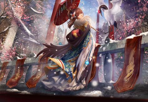 Обои Девушка с зонтом в руке, стоит на балконе, на перила, которого опускается птица, art by liu (pixiv)