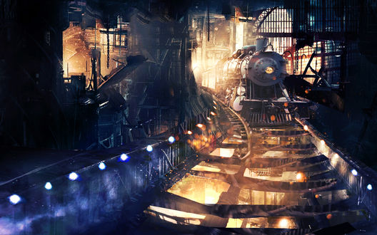Обои Старинный поезд едет по рельсам сквозь железные конструкции
