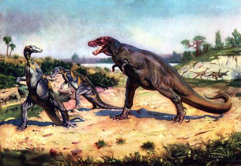 Обои Два траходона и тиранозавр