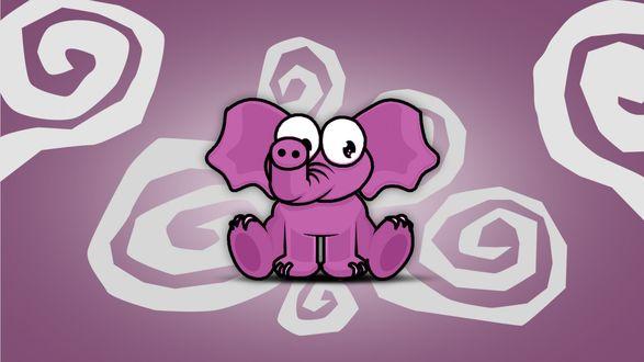Обои Нарисованный розовый слоник