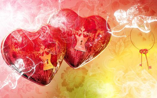 Обои Два красных сердца с замками внутри, по бокам два ангела с луками, один из которых держит связку ключей